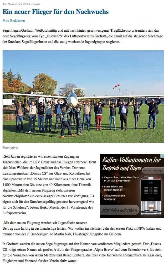 Beitrag der Grenzland Nachrichten zur Discus-Taufe Herbst 2013